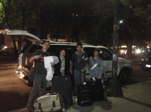 Day One :cab ride from airport to hostel. The team, minus Zehra, finally made it to Mexico City after a day in Chicago.